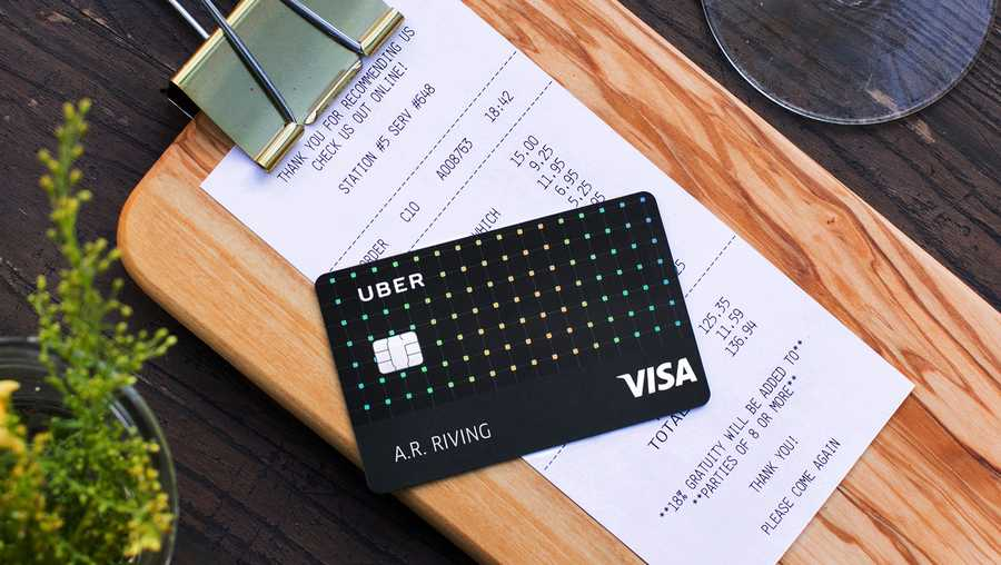 This photo provided by Uber shows an Uber Visa credit card. On Wednesday, Oct. 25, 2017, Uber unveiled a no-fee, co-branded credit card with British bank Barclays.
