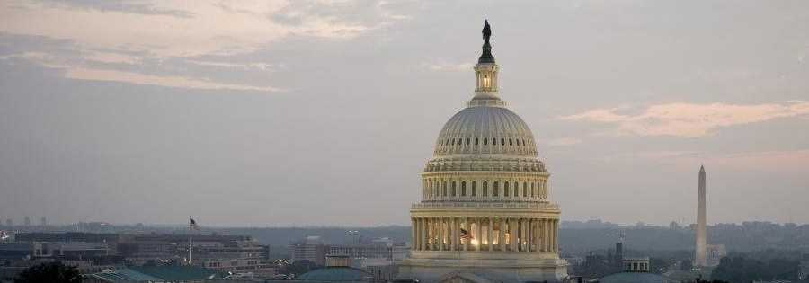 The U.S. Capitol is shown with lights on in this file photo.