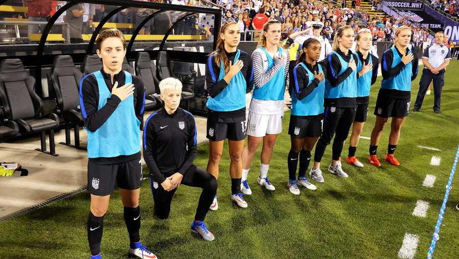 FILE PHOTO: The U.S. Soccer Federation announced Wednesday it has repealed its policy requiring players to stand during the National Anthem.