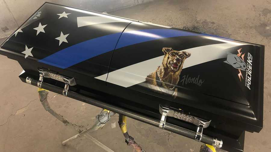 Hondo, a K-9 with Herriman City's Police Department, was shot while assisting officers apprehending a fugitive in Salt Lake City on February 13. Rawtin Garage revealed a special casket for the late K-9 officer.
