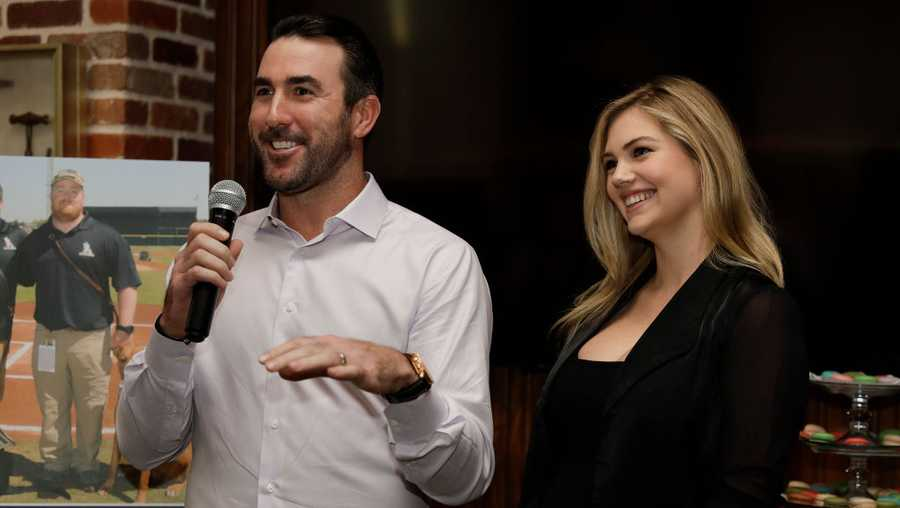 Justin Verlander and Kate Upton host a reception for Grand Slam Adoption Event and Wins For Warriors Foundation to raise funds for adoptable dogs to become service animals for military veterans  at Grace's On Kirby on September 3, 2018 in Houston, Texas.