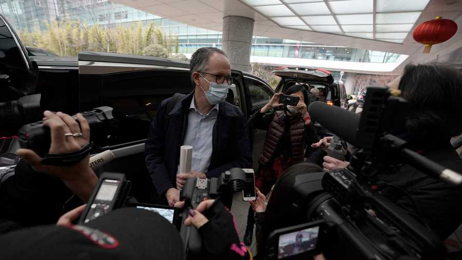 FILE - In this Wednesday, Feb. 10, 2021 file photo, Peter Ben Embarek of a World Health Organization team speaks to journalists, at the end of their WHO mission to investigate the origins of the coronavirus pandemic in Wuhan in central China's Hubei province.