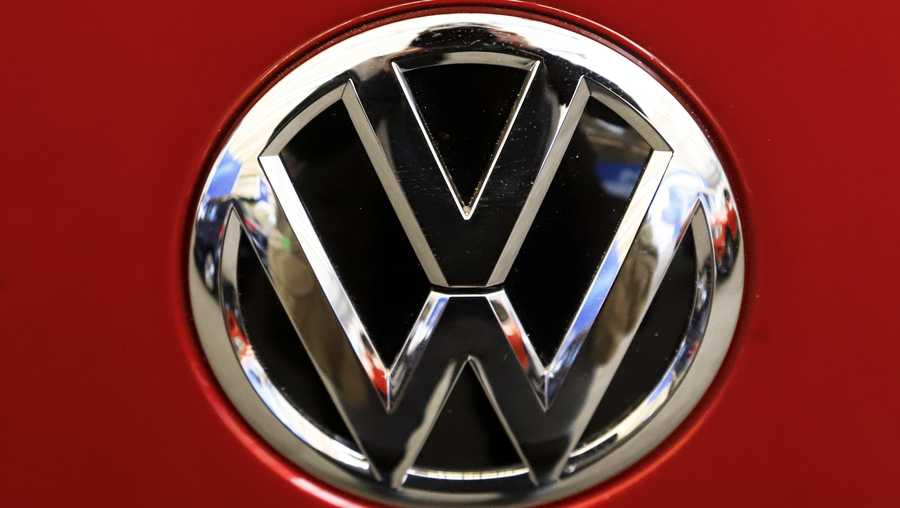 FILE - This Feb. 14, 2019, file photo, shows the Volkswagen logo on an automobile at the 2019 Pittsburgh International Auto Show in Pittsburgh. Volkswagen is recalling more than 218,000 Jetta sedans in the U.S. to fix a fuel leak problem that can cause fires. The recall covers certain cars from the 2016 through 2018 model years.