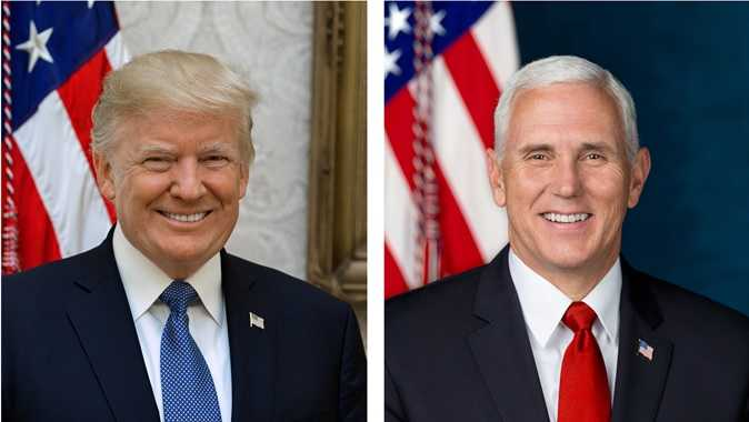 President Donald Trump and Vice President Mike Pence pose for their official White House portraits