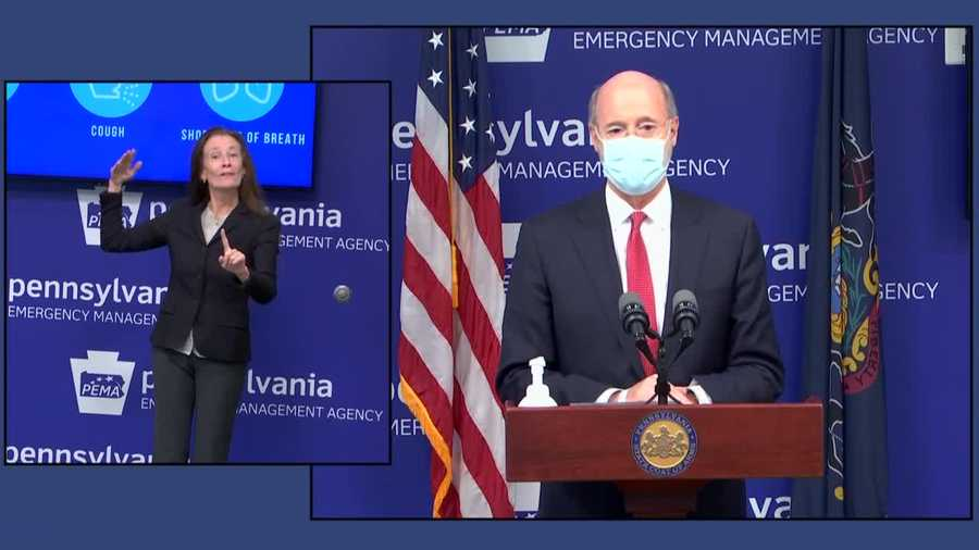 Pennsylvania Gov. Tom Wolf speaks about the coronavirus.