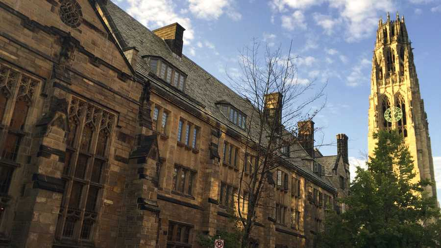 This Sept. 9, 2016 photo shows Harkness Tower on the campus of Yale University in New Haven, Conn.