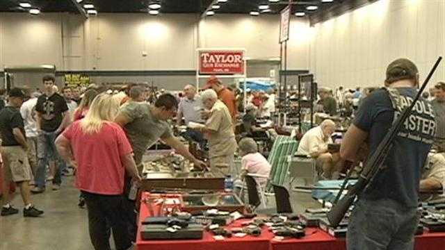Organizers of the Jackson Gun Show say no one was injured when a gun went off during the event at the Mississippi Trade Mart.